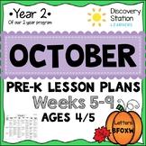 4 year old Preschool OCTOBER Lesson Plans (Weeks 5-9)