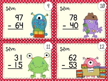 40 2 DIGIT NUMBERS SUBTRACTION TASK CARDS (with/ without regrouping)