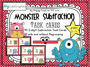40 2 DIGIT NUMBERS SUBTRACTION TASK CARDS (with/ without r