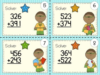 40 3-DIGIT NUMBERS ADDITION MATH TASK CARDS (sums with/ without regrouping)