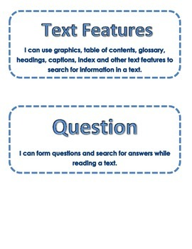 40 3rd grade Learning Target Cards for Guided Reading  Within Beyond About Text