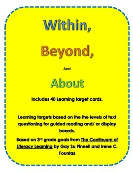 40 3rd grade Learning Target Cards for Guided Reading  Wit