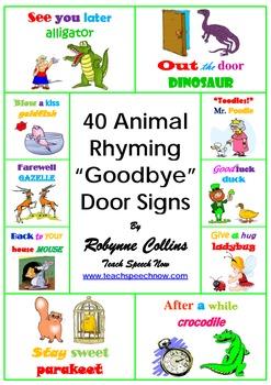 "40 Animal Rhyming ""Goodbye""  Door Signs"