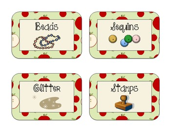 40 Apple-Themed Classroom Supply Labels