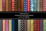 "40 Assorted Design Papers, 12 x 12"" High Resolution, Insta"