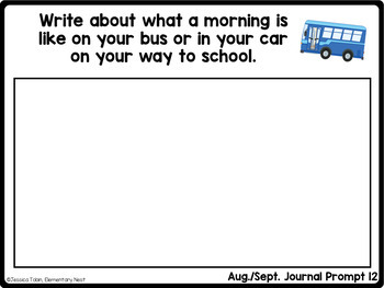 Writing Prompts for August and September, Back to School Writing