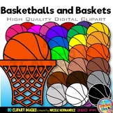 40 Basketballs with 40 Matching Baskets Clip Art for Personal and Commercial Use