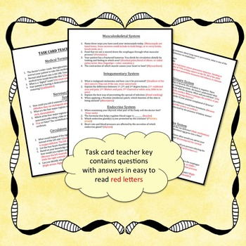 40 Bell Ringer Assessment Activity Questions Task Cards by Anatomy Academy
