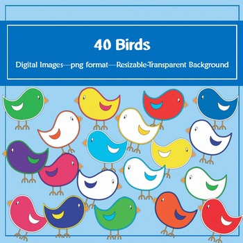 40 Birds Clip Art: for classroom decoration, parties and m