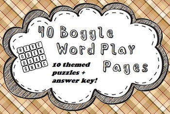 40 Boggle Puzzles Pack (with 10 Themed Puzzles)