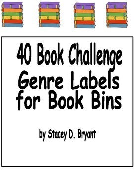 40 Book Challege Genre Labels for Book Bins