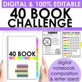 40 Book Challenge [EDITABLE with PowerPoint and Google Slides]