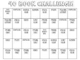 40 Book Challenge Bingo Board