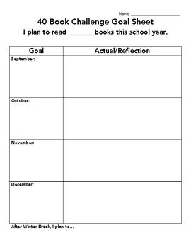40 Book Challenge Goal Setting and Reflection