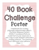 40 Book Challenge Poster | The Book Whisperer | FREEBIE