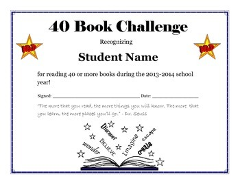 End of the Year Book Challenge Reading Certificates - Editable