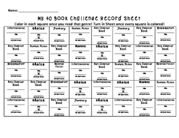 40 Book Challenge Sheet