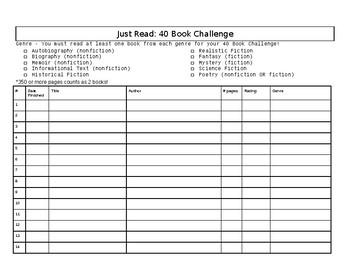 40 Book Challenge Tracker