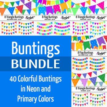 40 Buntings Clip Art ~ Money Saving Bundle
