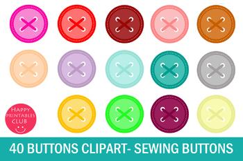 40 Button Clipart-Sewing Button Clipart- Scrapbook Buttons