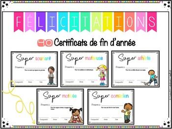 40 CERTIFICATS de fin d'année / End of the Year Awards FRENCH