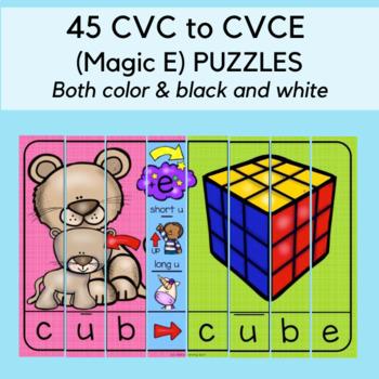 40 CVC to CVCE Magic E Word Puzzles: Short Vowels and Long Vowels