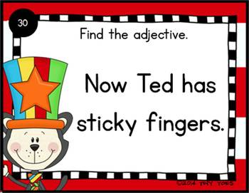 SCOOT Adjective Task Cards and QR Codes w/ Cat in the Silly Hat