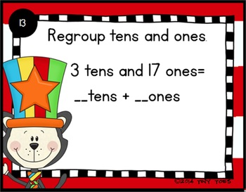 SCOOT Place Value Task Cards and QR Codes w/ Cat in the Silly Hat