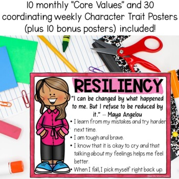 40 Character Trait Posters for the Whole School Year!
