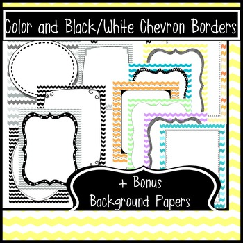 40 Chevron Borders and Frames + 10 Bonus Background Papers {B&W and Color}