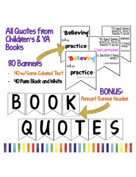 40 Children's & YA Book Quotes - 80 PENNANT BANNERS - Bulletin Board
