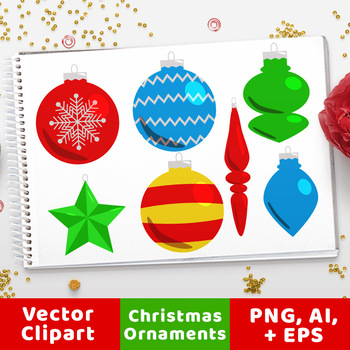 40 Christmas Ornaments Clipart, Holiday Clipart, Christmas Graphics