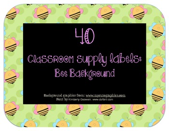 40 Classroom Supply Labels: Bee Theme