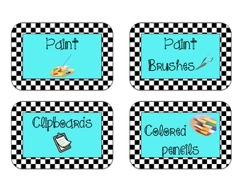 40 Classroom Supply Labels: Black and White Checkerboard with Aqua