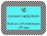 40 Classroom Supply Labels: Black and White Checkerboard w