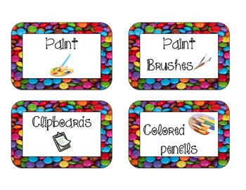 40 Classroom Supply Labels: Colorful Candies