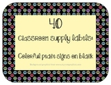 40 Classroom Supply Labels: Colorful peace signs on black