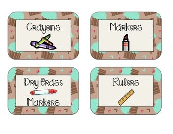 40 Classroom Supply Labels: Mint green frosting on brown