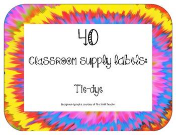 40 Classroom Supply Labels: Tie-dye