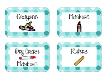 40 Classroom Supply Labels: Turquoise Dots