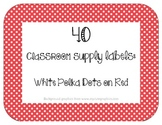 40 Classroom Supply Labels: White Polka Dots on Red