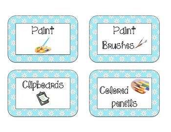 40 Classroom Supply Labels: White daisies on blue