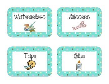 40 Classroom Supply Labels: tiny polka dots on aqua