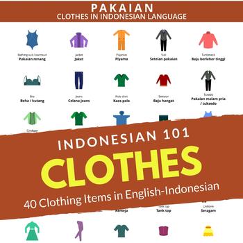 40 Clothing Items Indonesian English Poster Pakaian Bahasa Indonesia