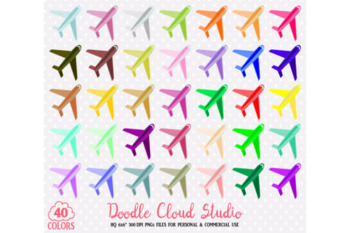 40 Colorful Airplane Clipart Travel Plane Holyday Planner Sticker Airport icon