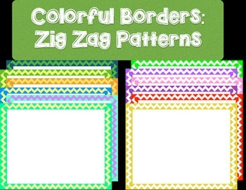 40 Colorful Borders + Frames Clipart - Zig Zag Line Patterns
