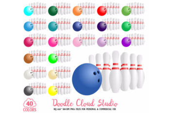 40 Colorful Bowling Clipart Sport Planner Stickers Bowling Pins Clip Art PNG.