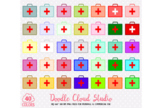 40 Colorful First Aid Kit Clipart PNG with Transparent Background.