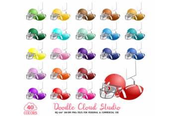 40 Colorful Football Clipart Rugby Sport Planner Stickers PNG.