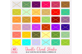 40 Colorful Mail Clipart Cute Rainbow Open Evelope icons Mail planner stickers